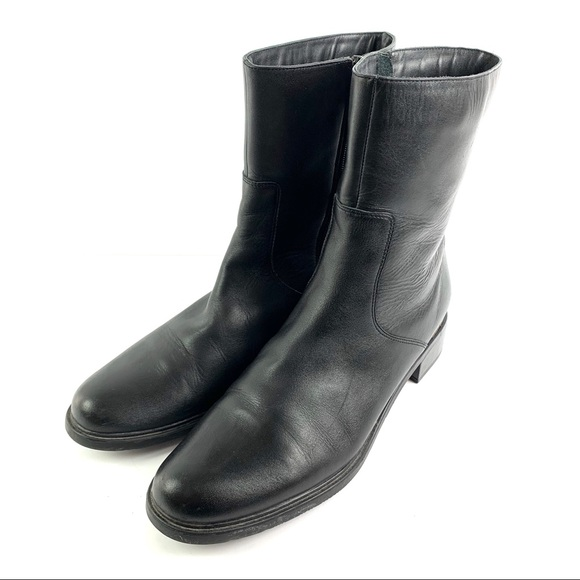 Womens Ankle Boots 10 Black Leather